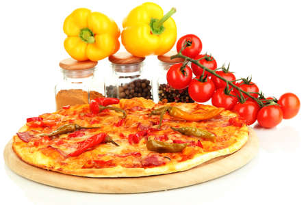 Tasty pepperoni pizza with vegetables on wooden board isolated on white Stock Photo - 17143135