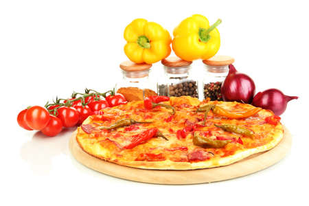 Tasty pepperoni pizza with vegetables on wooden board isolated on white Stock Photo - 17140681