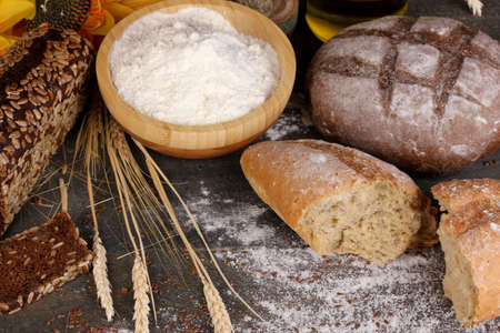 Rye bread on wooden table on wooden background close-up Stock Photo - 17144424