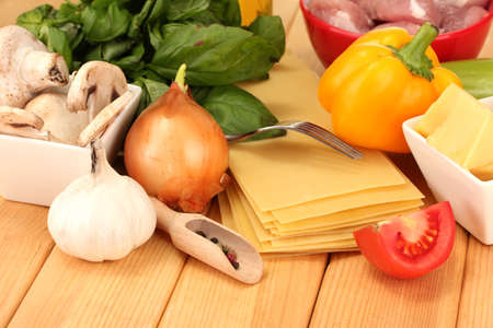 Lasagna ingredients on wooden background Stock Photo - 17143757
