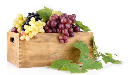 assortment of ripe sweet grapes in wooden crate, isolated on white Stock Photo - 17140743