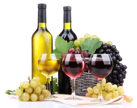 bottles and glasses of wine and grapes in basket, isolated on white Stock Photo - 17139892