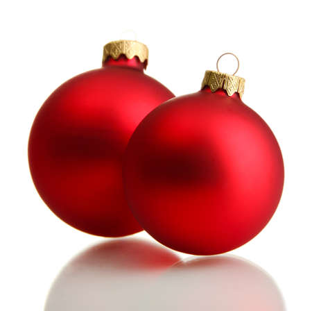 beautiful christmas balls, isolated on white photo