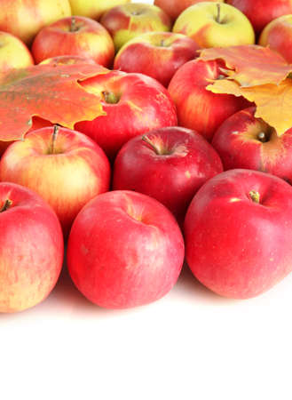 juicy red apples with leaves, isolated on white photo
