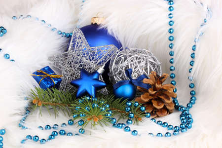 Christmas decoration in white fur photo