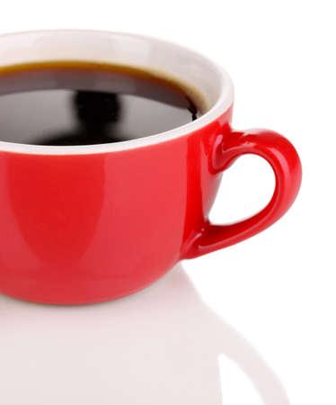Una tazza di caff? forte rosso isolato su bianco Archivio Fotografico