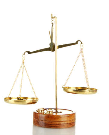 judicature: Gold scales of justice isolated on white Stock Photo