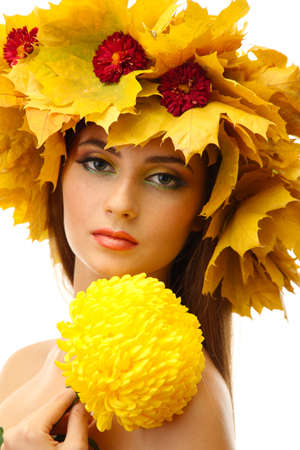 beautiful young woman with autumn wreath and chrysanthemum, isolated on white Stock Photo - 17282917