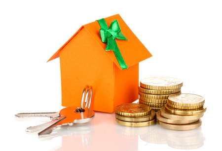 Small house with money and key isolated on white Stock Photo - 17140214