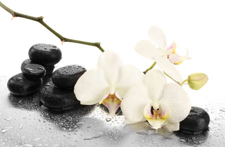 oriental massage: Spa stones and orchid flowers, isolated on white