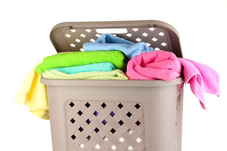 Beige laundry basket isolated on white Stock Photo - 17141023