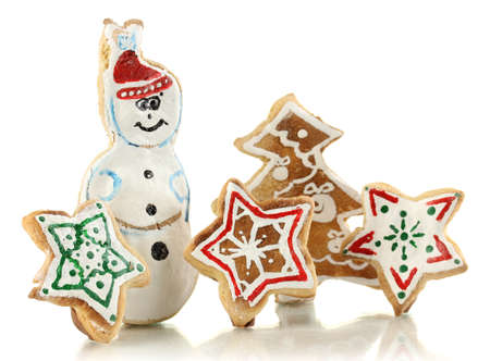 Christmas cookies isolated on white photo