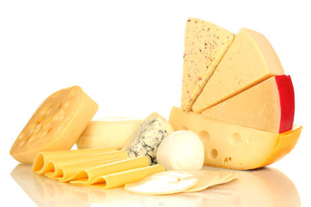 Various types of cheese isolated on white photo