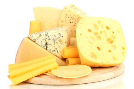 Various types of cheese isolated on white Stock Photo - 17140244