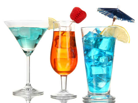 Alcoholic cocktails with ice isolated on white Stock Photo - 17140206