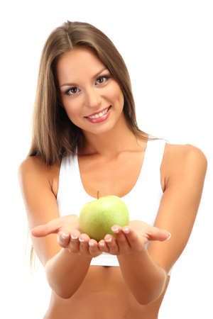 beautiful young woman with green apple, isolated on white photo