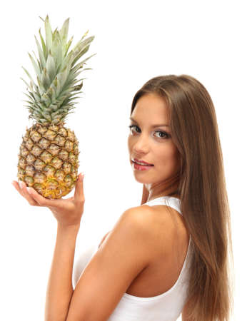 beautiful young woman with pineapple, isolated on white photo