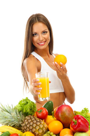 beautiful young woman with fruits and vegetables and glass of juice, isolated on white Stock Photo - 17282017