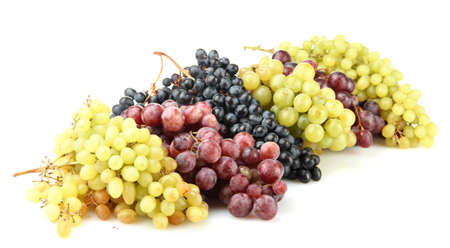 assortment of ripe sweet grapes isolated on white