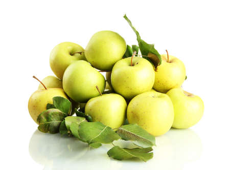 juicy apples with green leaves, isolated on white Stock Photo - 17214354
