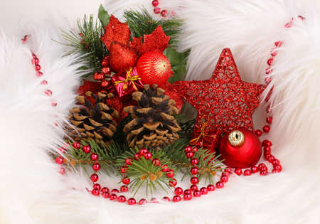 Christmas decoration in white fur Stock Photo - 17215291