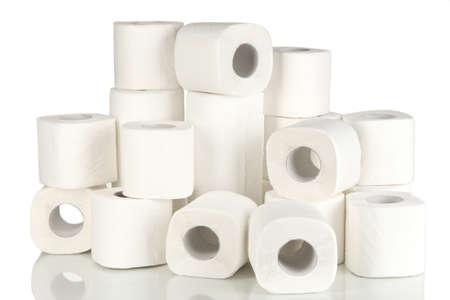 toilet roll: Rolls of toilet paper isolated on white Stock Photo