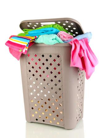 Beige laundry basket isolated on white Stock Photo - 17216137