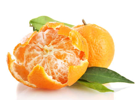 Ripe sweet tangerines with leaves, isolated on white Stock Photo - 17216021