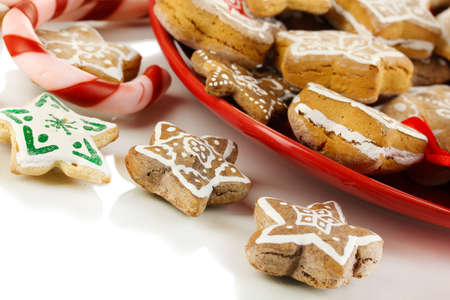Christmas treats on plate isolated on white Stock Photo - 17216347