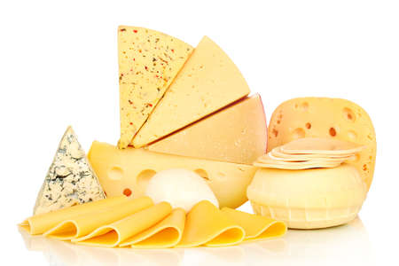 different types of cheese: Various types of cheese isolated on white Stock Photo