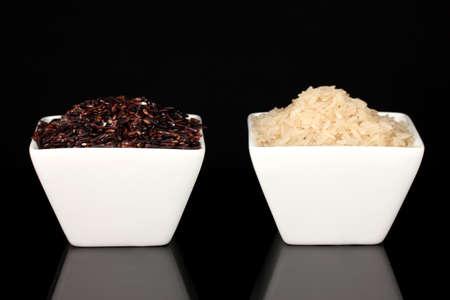 Black & white rice isolated on black Stock Photo - 17256034