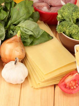 Lasagna ingredients on wooden background Stock Photo - 17256734