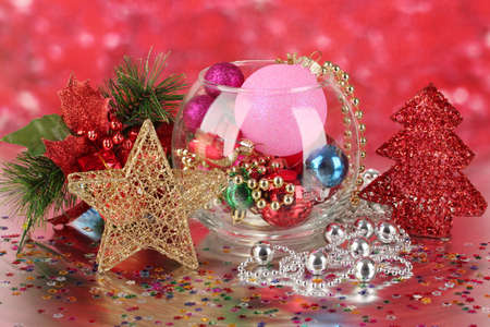 Christmas decoration on red background photo