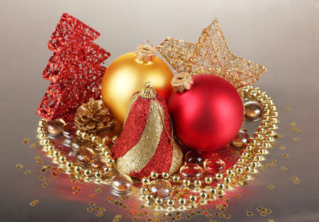 Christmas decoration on gray background photo