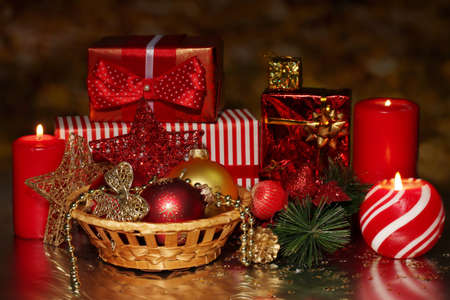 Christmas decoration and gift boxes on dark background Stock Photo - 17257072