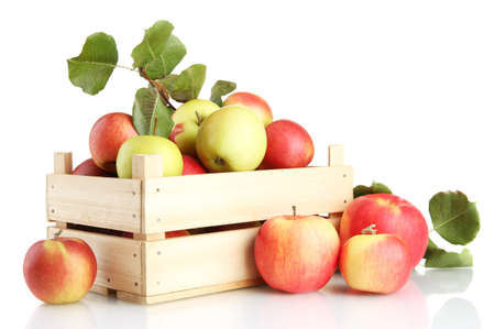 juicy apples with green leaves in wooden crate, isolated on white Stock Photo - 17256731