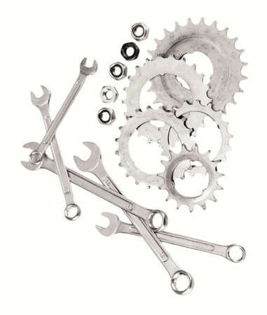 Machine gear, metal cogwheels, nuts and bolts isolated on white Stock Photo - 17256634