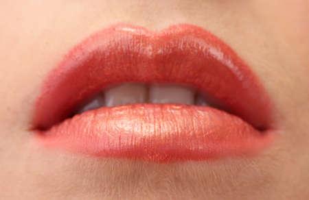 beautiful make up of gloss lips, close up photo