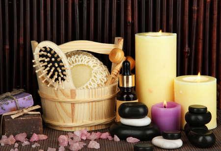 Beautiful spa setting on bamboo background Stock Photo - 17264043