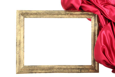 empty frame with silk, isolated on white photo