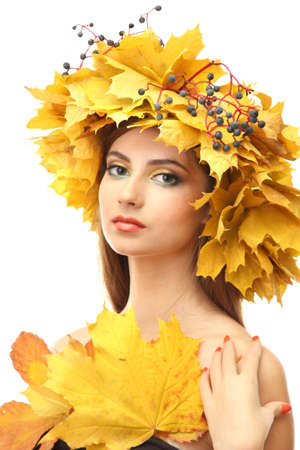 beautiful young woman with yellow autumn wreath, isolated on white Stock Photo - 17761778