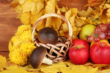 Autumnal composition with yellow leaves, apples and mushrooms on wooden background Stock Photo - 17264136