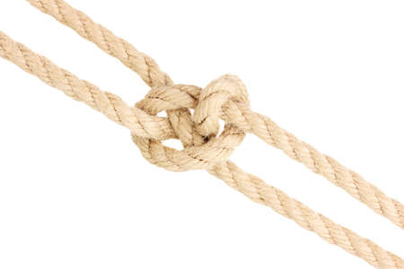 Rope with knot isolated on white photo