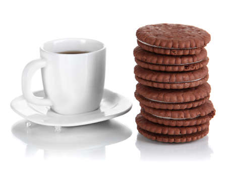 Chocolate cookies with creamy layer and cup of coffe isolated on white Stock Photo - 17263359