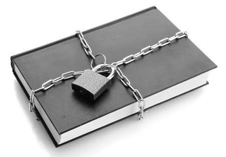 black book with chain, isolated on white Stock Photo - 17263523