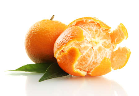 Ripe sweet tangerines with leaves, isolated on white Stock Photo - 17263369