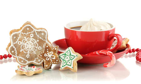 Christmas treats with cup of coffe isolated on white Stock Photo - 17263481