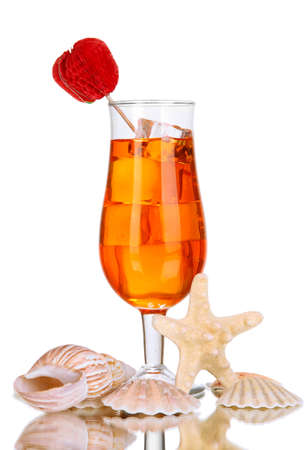 Alcoholic fruit cocktail with ice isolated on white photo
