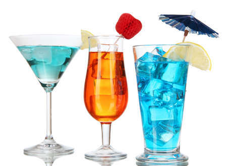 Alcoholic cocktails with ice isolated on white Stock Photo - 17263387