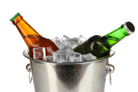 Beer bottles in ice bucket isolated on white Stock Photo - 17263837